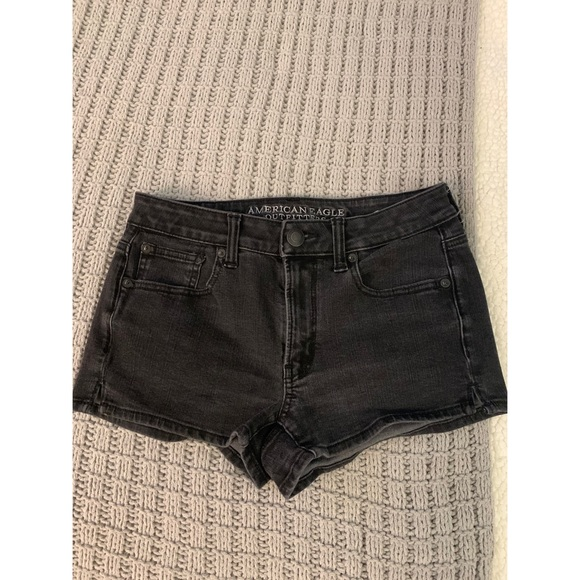 American Eagle Hi-Rise Shortie Faded  Jean Shorts